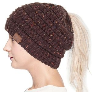 C.C Knit Ponytail Confetti Beanie-MB-33_BROWN